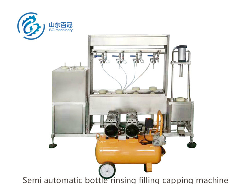 Semi automatic bottle rinsing filling capping machine